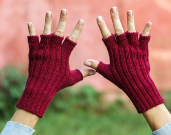 Dark red gloves half finger gloves photographer gift for photographer christmas gloves small size medium size large size woman gloves alpaca