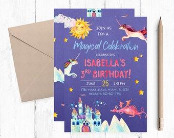 Magical Birthday Invitation, Unicorns and Dragons Invitations, Unicorn Invitations, Magical Birthday Party, Magical Invites, Magical Invite,