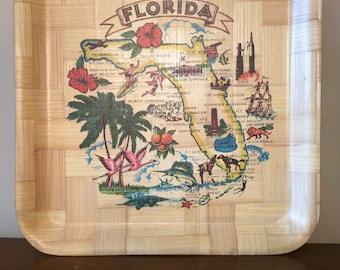 Vintage tacky Florida bamboo tray