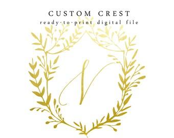 custom modern calligraphy crest · wedding crest · wedding monogram · digital file · printable crest · printable monogram · wedding logo