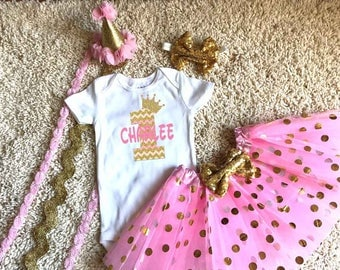 Chevron Crown Princess Birthday Shirt Girl Pink and Gold Girl Shirt Tutu Boutique Hat Personalized Matching Pink Gold Mom Birthday