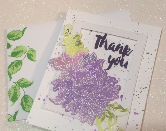 Handmade Card, Stamped Card, Watercolor Card, Thank You Card, Versatile Card, Customizable Card, Layered Card, Sparkly Card