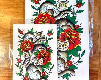 SALE: Three Cats Art Print