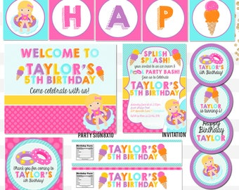Sweet Shop Ice Cream Pool Party Birthday Party Printable Package