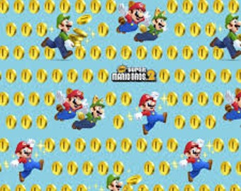 "Super Mario Bros 2 coins fabric for Springs Creative, 43"" wide, 100% cotton, by the half yard"