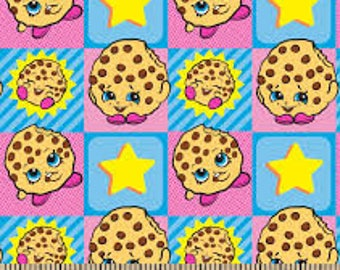 """Shopkins Cookie in squares Flannel for Springs Creative, 42"""" wide, 100% cotton flannel"""