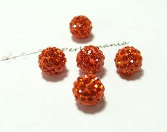 10 pearls 10mm orange quality shambala