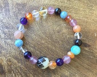 Rainbow Lotus | Sacred Single Bracelet | Chakra Healing | Wrist Mala | Healing Bracelet | Brown & White