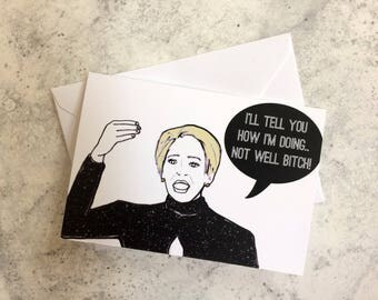 Not Well- Real Housewives Dorinda Medley Note/Greetings Card/Invitation