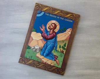 Prayer in the Garden,Christ Pantocrator,Jesus Christ Art,Greek Orthodox Icon,Byzantine Icon of God,New Home Present,Religious Present