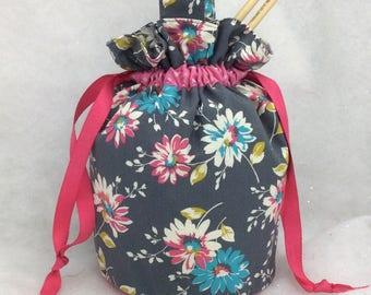 Knitting Project Bag, Knitting Tote,  Drawstring Bag, Crochet Bag, Craft Bag, WIP Bag, Sock Bag, Utility Tote, Utility Bag