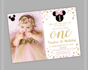 20% OFF Pink and Gold Minnie Mouse Birthday Party Invitation, First, 1st Birthday, Gold Glitter, Polka Dot invite, Girl, Printable