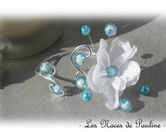 White and turquoise bracelet 'Les Volutes' v2