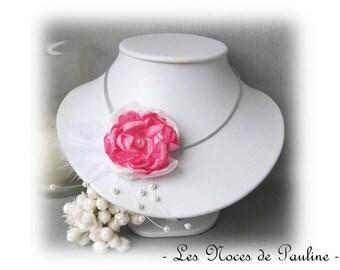 Bridal white flower pink Camellia, Les Textiles