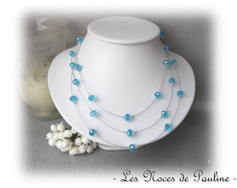 Turquoise bridal Crystal 3 rows Elisa 'Tradition' collection
