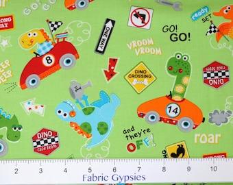 Go Go! Dino! by Susan Cousineau for Marcus Fabrics ~ CARS ~ 9727-0152 GRN ~ By The Half Yard ~
