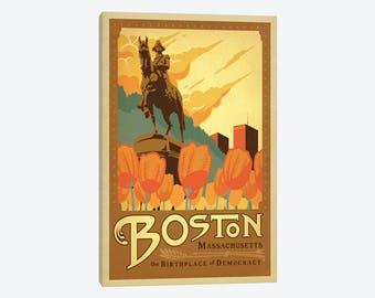 Boston Massachusetts MA George Washington Statue  Boston Public Garden Beantown Canvas Wall Print Decor Beautiful Vintage Travel Pop Artwork