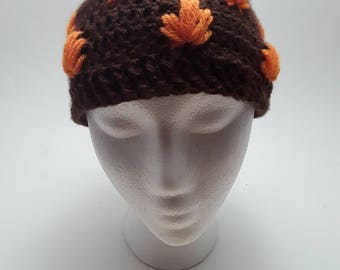 Handmade crochet autumn leaf hat