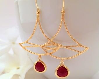 Gold Leaf Earrings Ginkgo Leaf Earrings Gold Chandelier Earrings Dangle Drop Earring Burgundy Glass Teardrop Dangle Minimal Everyday Earring