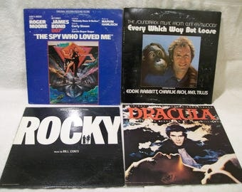 Vintage 1970's Vinyl Record Lot Rocky The Spy Who Loved Me Dracula Every Which Way But Loose