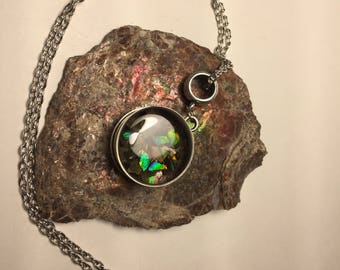 25x10mm Canadian Ammolite, 3D Resin Pendant