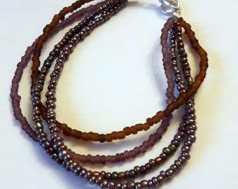 Gradient Brown bracelet seed beads