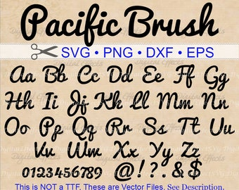 PACIFIC Brush Script SVG, Script Monogram Font Svg, Dxf, Eps, Png; Bold Font, Retro Script, Retro Font, Cursive SVG, Silhouette Cricut Files