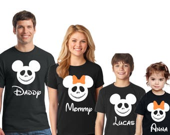 Disney SKELETON Shirts, Disney halloween shirts, Minnie and Mickey heads,Disney family vacation shirts, Mickey not so scary Halloween shirts