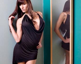 Black Drape Front Dress With Rhinestones