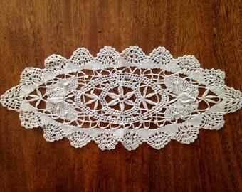 Vintage Oblong Embroidered Doily