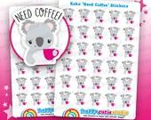 30 Cute Koko the Koala 'Need Coffee' Planner Stickers, Filofax, Erin Condren, Happy Planner, Kawaii, Cute Sticker, UK