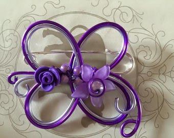 Aluminum purple and pale purple brooch