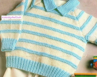 Baby / Toddlers Sweater, Easy Knit, Knitting Pattern. PDF Instant Download.