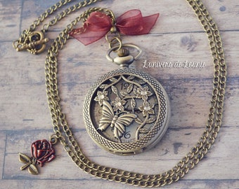 Pink red Butterfly watch necklace
