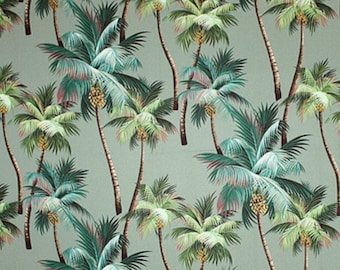 Fabric Palm Trees Tropical Green Aloe 100% Cotton Barkcloth Island Polynesia Hawaii Rarotonga Tahiti Nature