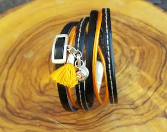 Cuff 2 turns black and orange leather
