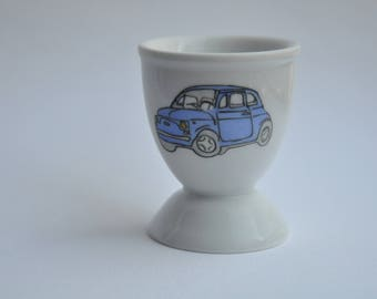 Egg Cup with drawing of a car Fiat 500 blue small personalized gift, cheap