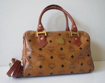 MCM Boston Bag Satchel Handbag Speedy 25 with Shoulder Strap Vintage from 80's