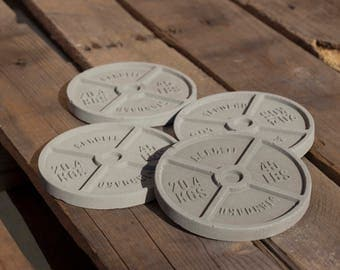 Grey Barbell Workout Concrete Coaster 4 Pack / Workout Coaster / Barbell Coaster / Weight Coaster