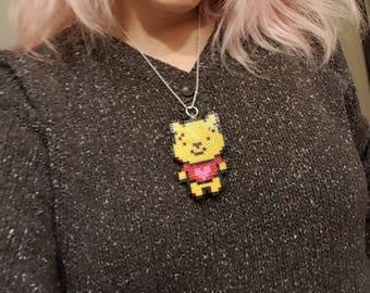 Winnie the Pooh Necklace, Perler bead Winnie the Pooh Necklace, Perler bead Necklaces, Winnie the Pooh Perler Beads, Mini Perler bead