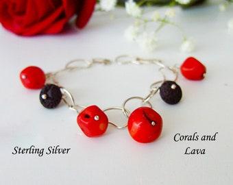 Genuine Red Corals and Lava Bracelet, Sterling Silver Chain Bracelet, Red and Black Bracelet, Real Corals Bracelet