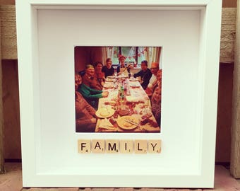 Scrabble family box photo frame - personalised with scrabble tiles