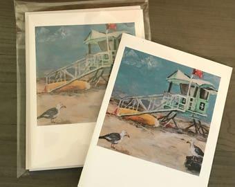 Beach, Set of 5 blank notecards, original artwork copies