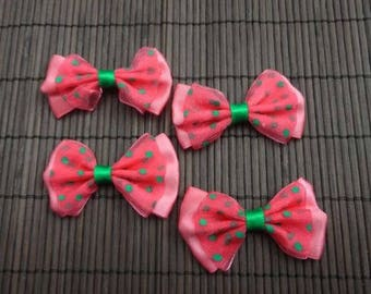 5 flower applique coral satin and organza bow has green dots
