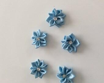 SET of 5 size 2.5 CM blue SATIN flower APPLIQUES