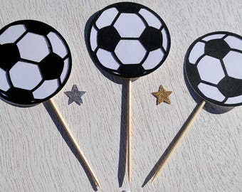 Soccer Ball Cupcake Toppers, Soccer Party, Sports Party, Soccer Birthday Party