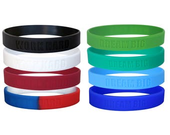 Work Hard, Dream Big Motivational Silicone Wristbands