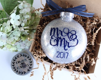 Our First Christmas Ornaments - Christmas Ornament - Mr And Mr Ornament - Gift for Gay Newlyweds - Gay Wedding Gift - Gift for Mr And Mr -