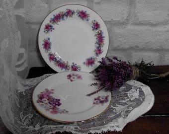 Vintage tea plates,mismatched china plates,tea for 2,vintage china plates,floral china plates,Gainsborough china,Royal Kent china,tea plates