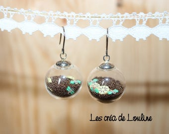 Brown Pearlescent globe earrings